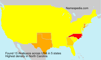 Surname Akabueze in USA
