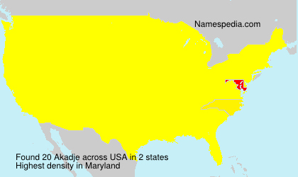 Surname Akadje in USA