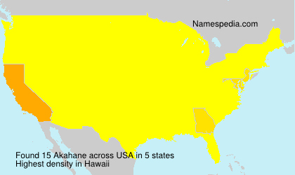 Surname Akahane in USA