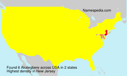 Surname Akalegbere in USA