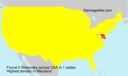 Surname Akalovsky in USA