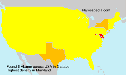 Surname Akame in USA