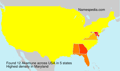 Surname Akamune in USA