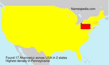 Familiennamen Akanowicz - USA
