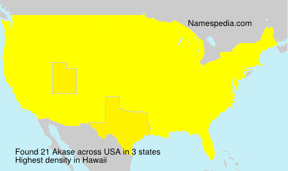Familiennamen Akase - USA