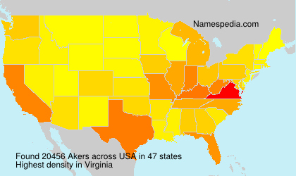 Surname Akers in USA