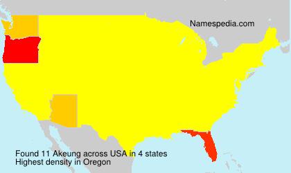 Familiennamen Akeung - USA