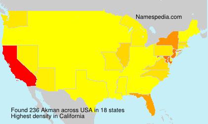 Surname Akman in USA
