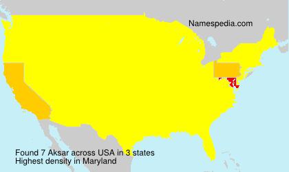 Surname Aksar in USA