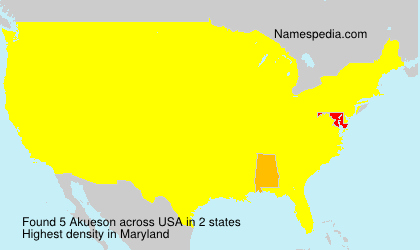 Surname Akueson in USA