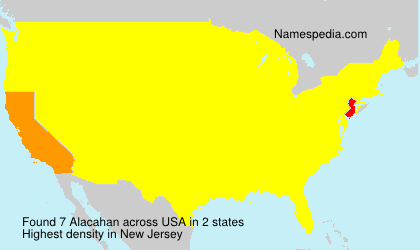 Surname Alacahan in USA