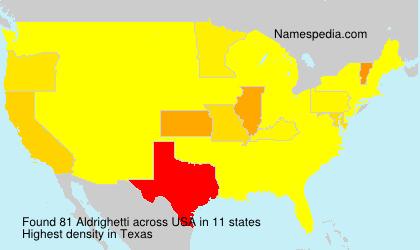 Familiennamen Aldrighetti - USA
