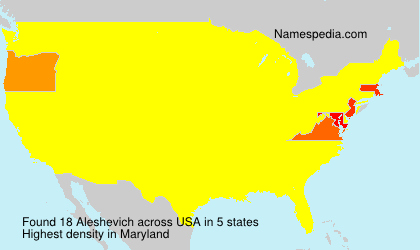 Surname Aleshevich in USA