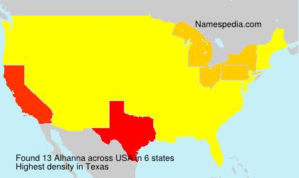 Familiennamen Alhanna - USA