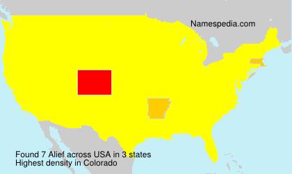 Familiennamen Alief - USA