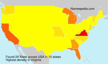 Surname Aliste in USA