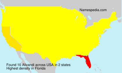 Surname Alivandi in USA