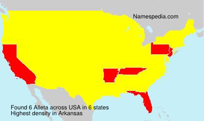Familiennamen Alleta - USA
