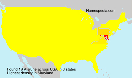 Surname Alsruhe in USA
