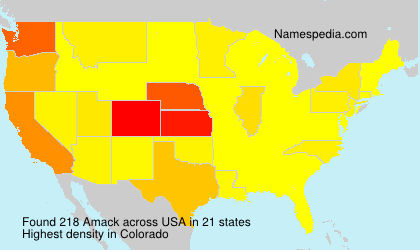 Surname Amack in USA