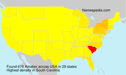 Surname Amaker in USA