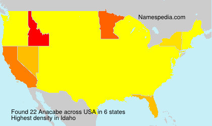 Surname Anacabe in USA