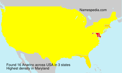 Familiennamen Anarino - USA