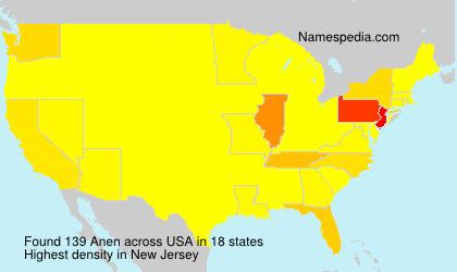 Surname Anen in USA