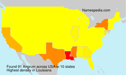 Surname Angrum in USA