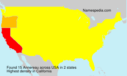 Surname Annereau in USA