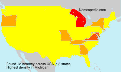 Familiennamen Antoney - USA