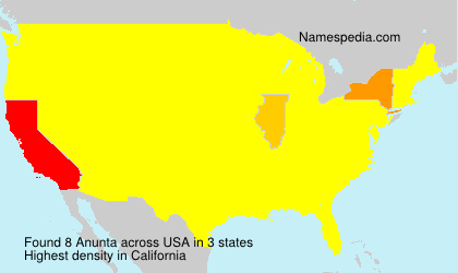 Surname Anunta in USA