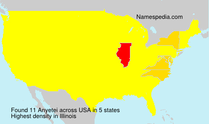 Familiennamen Anyetei - USA
