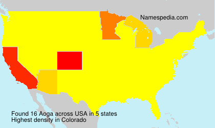 Surname Aoga in USA