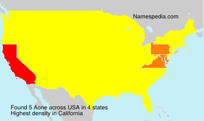 Surname Aone in USA