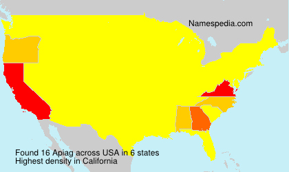 Surname Apiag in USA