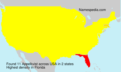 Surname Appelkvist in USA