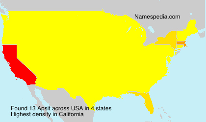 Familiennamen Apsit - USA