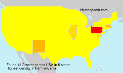 Surname Arbeter in USA