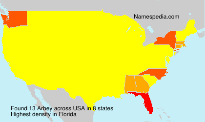 Surname Arbey in USA