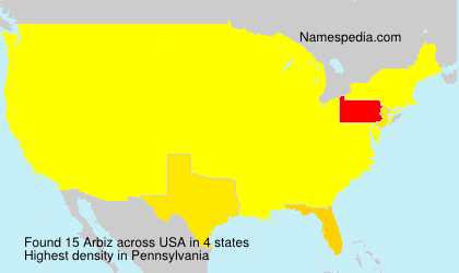 Surname Arbiz in USA