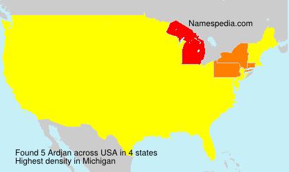 Surname Ardjan in USA