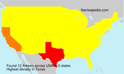 Surname Arkeen in USA
