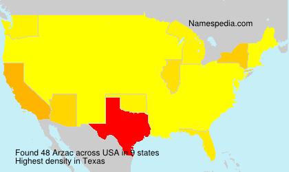 Familiennamen Arzac - USA