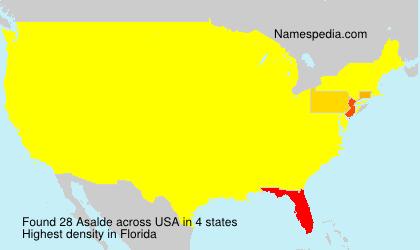 Familiennamen Asalde - USA