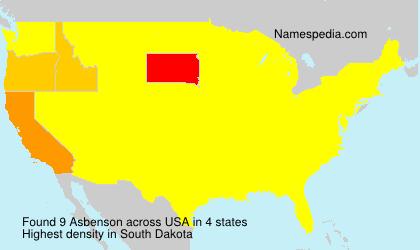 Surname Asbenson in USA