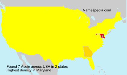 Familiennamen Asein - USA
