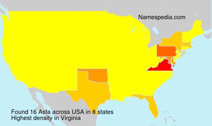Surname Asfa in USA