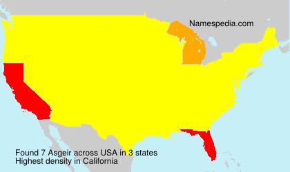 Familiennamen Asgeir - USA