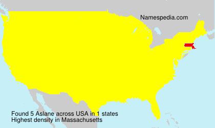 Familiennamen Aslane - USA